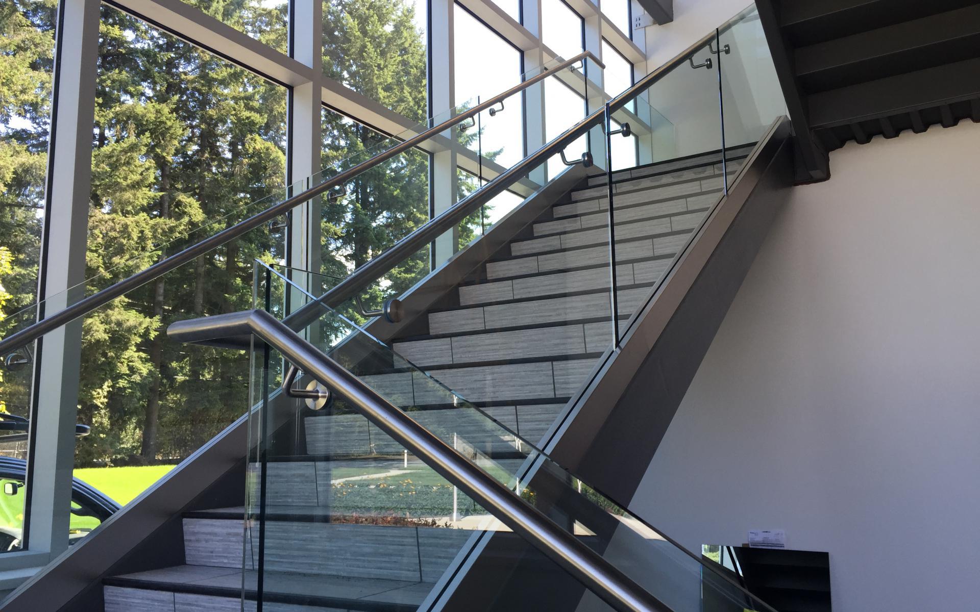 Vancouver interior frameless glass stair railings for Interior glass railing designs